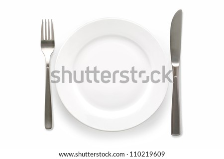 Cutlery Set with plate. On white background - stock photo