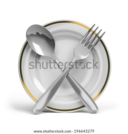 Cutlery - spoon, fork and plate. 3d image. White background.