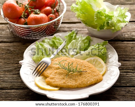 cutlet breaded with salad on dish - stock photo
