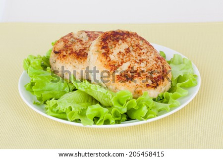 cutlet on a plate with fresh green salad - stock photo