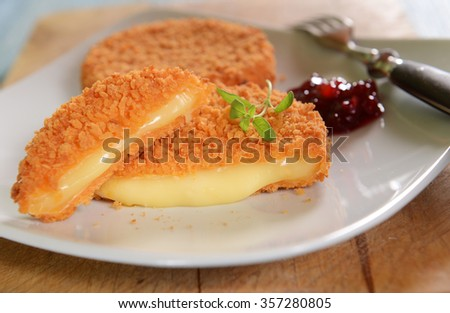 Cutlets with melted cheese and wild cranberries - stock photo