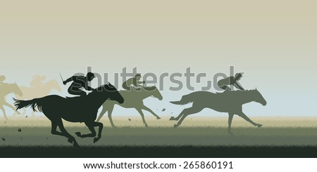 Cutout illustration of horses and jockeys racing - stock photo