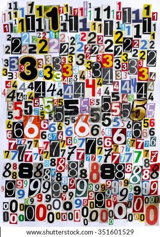 Cutout numbers from 1 to 0 from newspapers and magazines