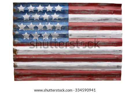 Cutout of a charming rendition of an American flag painted on galvanized siding. - stock photo