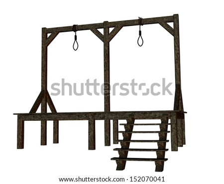 Cutout of a gallows in the Middle Ages - stock photo