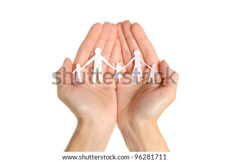 Cutout paper chain family with the protection of cupped hands, concept for security and care on white background - stock photo