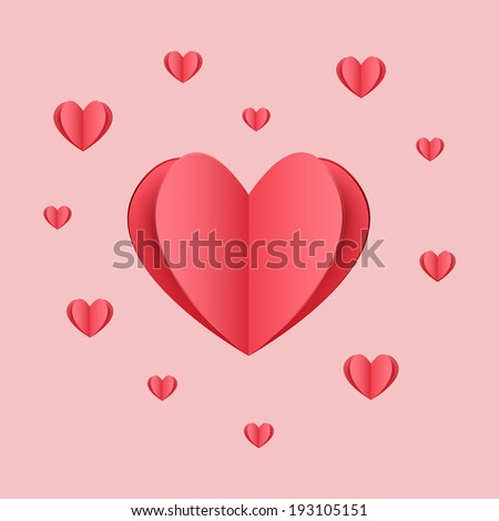 Cutout red paper heart on light pink background - stock photo