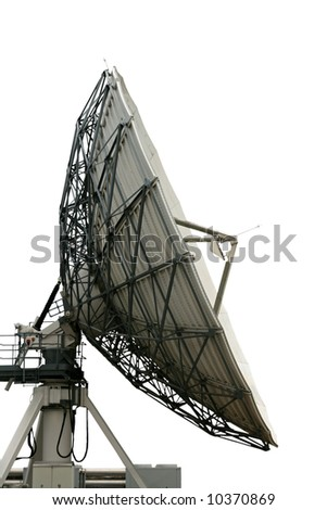 cutout satellite dish on white background with clippng path - stock photo