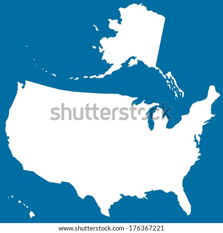 Cutout silhouette map of the USA.  - stock photo