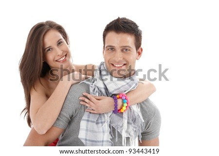 Cutout summer portrait of smiling couple looking at camera.? - stock photo