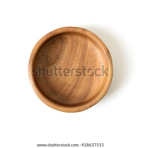 Cutout wooden bowl.  - stock photo