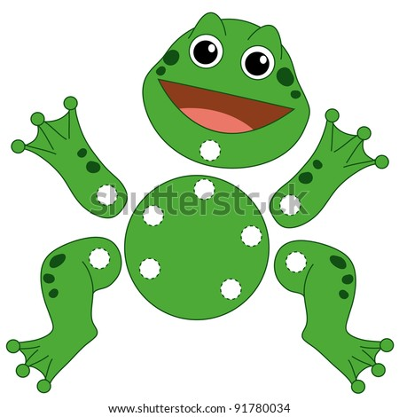 cuts out and plays, the frog - stock photo