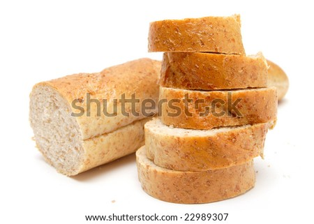cutted long loaf with bran on the white background