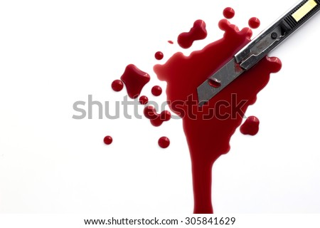 Cutter knife stained with blood on a white background. - stock photo