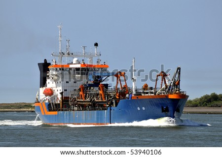 Cutter suction dredger - stock photo