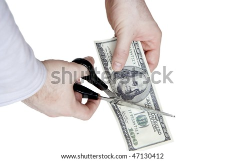 Cutting a hundred dollar bill in two parts