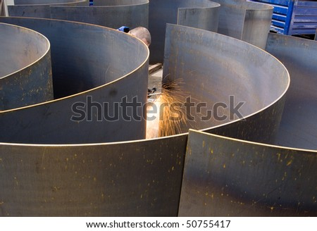 Cutting and preparing sheet metal at an engineering works