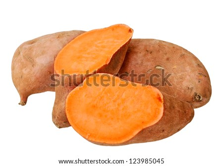 cutting and whole sweet potatoes isolated on white background - stock photo
