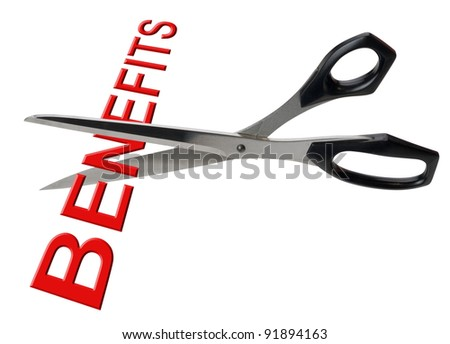 Cutting benefits, isolated - stock photo