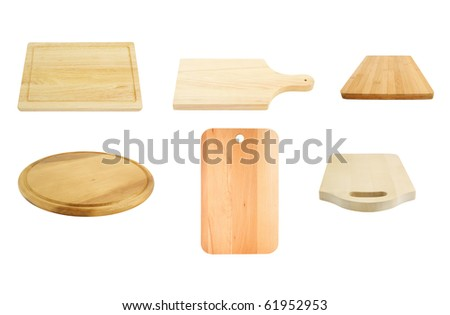 Cutting board collection isolated on a white background - stock photo