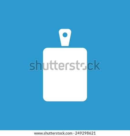 cutting board icon, isolated, white on the blue background. Exclusive Symbols