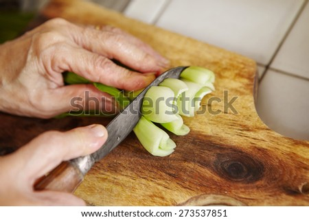 Cutting bok choy / Chinese cabbage on the cutting board - stock photo