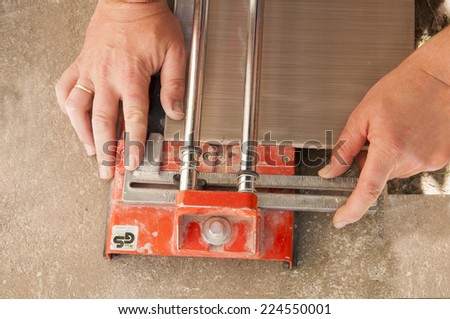 Cutting Ceramic Tiles Tile Cutter Stock Photo (Safe to Use ...