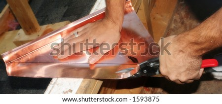 cutting copper - stock photo