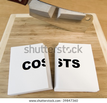 Cutting costs in business or personal finances with a cleaver. - stock photo