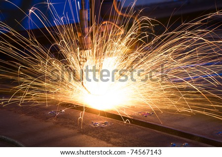 Cutting metal with CNC laser - a series of METAL INDUSTRY images. - stock photo