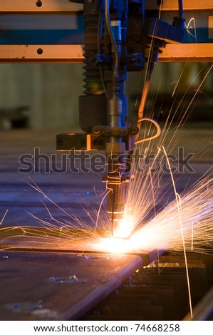 Cutting metal with plasma laser close up - a series of METAL INDUSTRY images. - stock photo