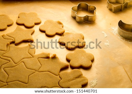 Cutting of Christmas cookies