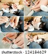 Cutting off domestic cat's claws. Set of photos. Hand holding clippers. - stock photo
