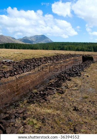Cutting peat in Connemara Ireland - stock photo