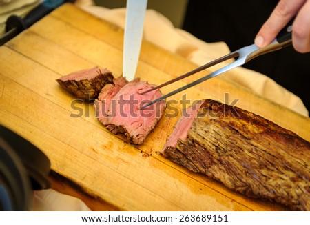 Cutting Prime Rib - stock photo