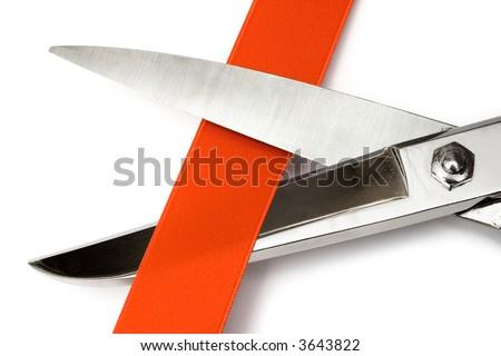 Cutting Red Ribbon - stock photo
