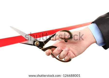 Cutting red ribbon, isolated on white - stock photo