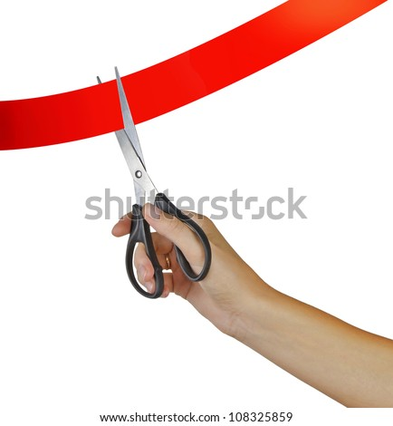 Cutting red tape - stock photo