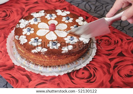Cutting the cake - stock photo