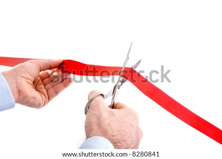 cutting the red ribbon - new business - stock photo