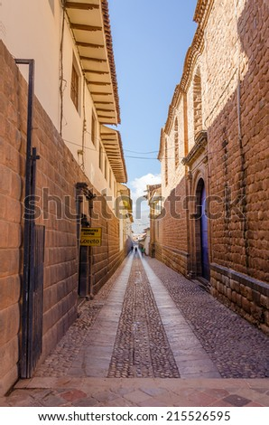 CUZCO, PERU, MAY 1, 2014: Old street in the city center