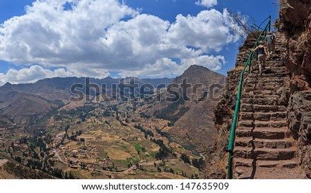 CUZCO, PERU: View of Inca trail in Pisac