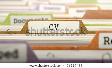 CV Concept. Colored Document Folders Sorted for Catalog. Closeup View. Selective Focus. 3D Render.