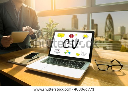 CV - Curriculum Vitae  Thoughtful male person looking to the digital tablet screen, laptop screen,Silhouette and filter sun - stock photo