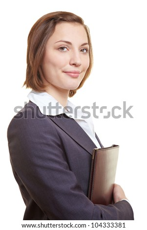 CV of attractive female executive in her arms - stock photo