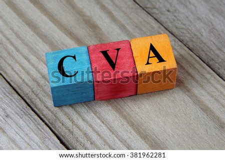 CVA (Cerebrovascular Accident) acronym on colorful wooden cubes - stock photo