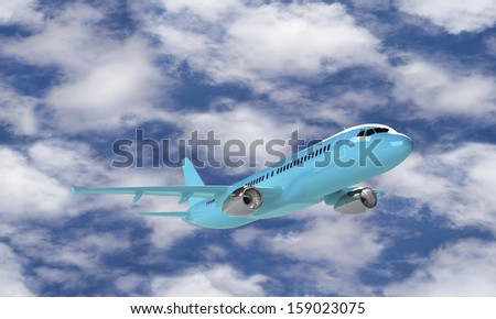 Cyan airplane take off  isolated against the clouds and sky