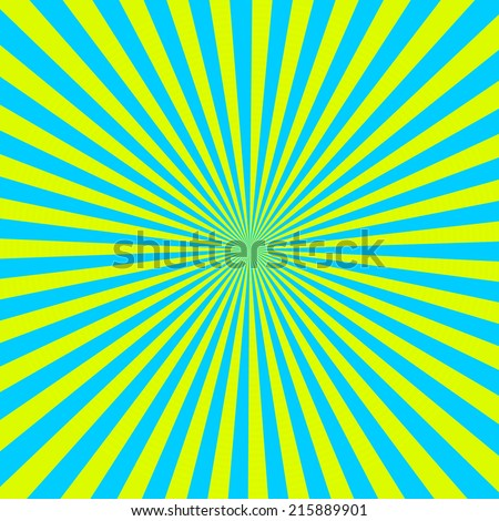 Cyan and yellow color burst background - stock photo