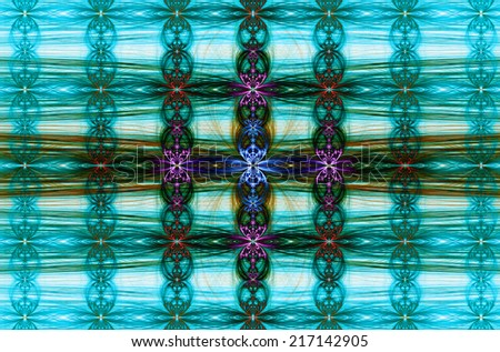 Cyan background with decorative abstract flower pattern and arches and crosses in an interlocking horizontal and vertical chain pattern and the dark center being in pink, red, blue and orange - stock photo