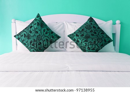 Cyan bedroom in a modern house - home interiors. - stock photo